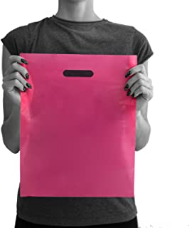 200 Pink Merchandise Bags 12x15 - 1.50 mil Extra Thick LDPE - Glossy Shopping Bag Plastic with Die Cut Handle - Medium Size - 100% Recyclable - TOP RATED