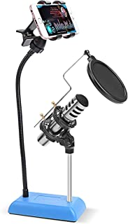 DricRoda Desktop Microphone Stand, Microphone Mount Holder with Mic Stand, Detachable Gooseneck Phone Mount Clamp and Pop ...