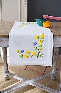 Vervaco Bedruckter Tischläufer Frühlingsblumen, Stickbild vorgezeichnet Kit de point de croix compté, chemin de table, Cot...
