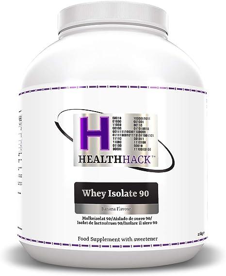 Health Hack - Aislado de suero de leche 90 %, 2,5 kg, plátano
