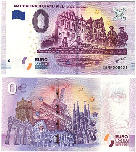 0Euro faros Marinière–Rebelión Kiel–Cientos Años democracia 2018–nulo Euro Souvenier Banco Ordenador con diferentes monumentos de