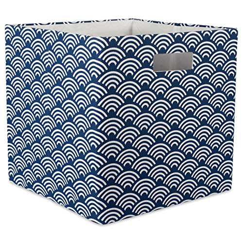DII Hard Sided Collapsible Fabric Storage Container for Nursery, Offices, & Home Organization, (13x13x13) - Waves Nautical Blue