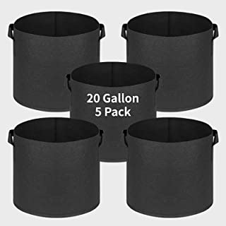 Mrs Bad 5pcs 20 Gallon Plant Grow Bags Felt Fabric Flower Planter Containers Flower Pot Garden Accessories for Tomato Pota...