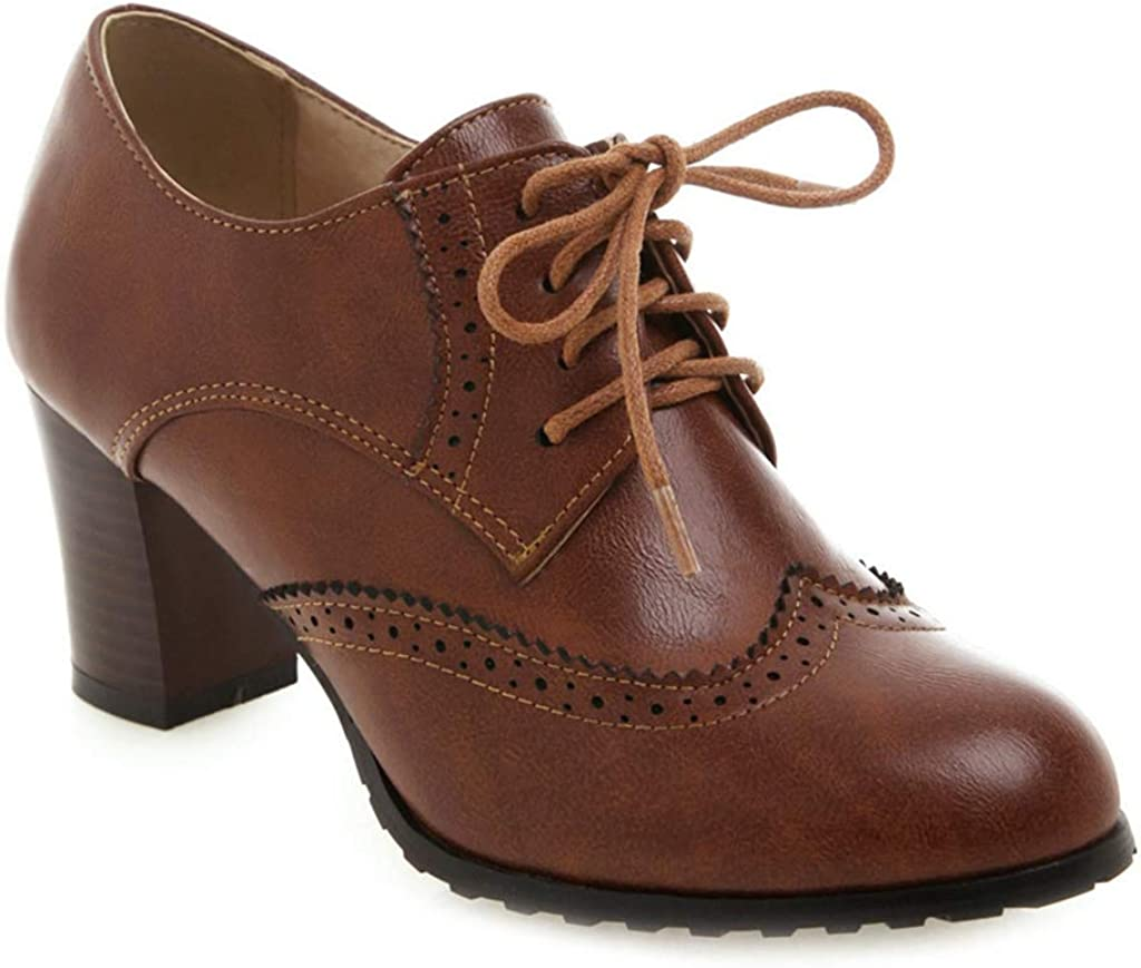 Sale Indianapolis Mall SALE% OFF MIOKE Women's Lace Up Wingtip Brogues Oxfords Pump Ch Perforated