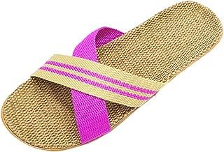 HRFEER Summer Slippers Men's Indoor Sandals Women Beach Slipper Linen Flip Flops for Women Sandals