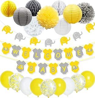 Decoraciones de la ducha del bebé del elefante gris amarillo Neutral para el niño o la niña, Banner de bienvenida del bebé Globos de confeti de la guirnalda del elefante para la decoración neutral