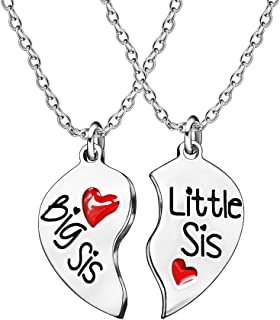 2pcs Big Little Sister Couple Necklace Set - Stainless Steel Broken Heart Pendant Necklace Family Gift