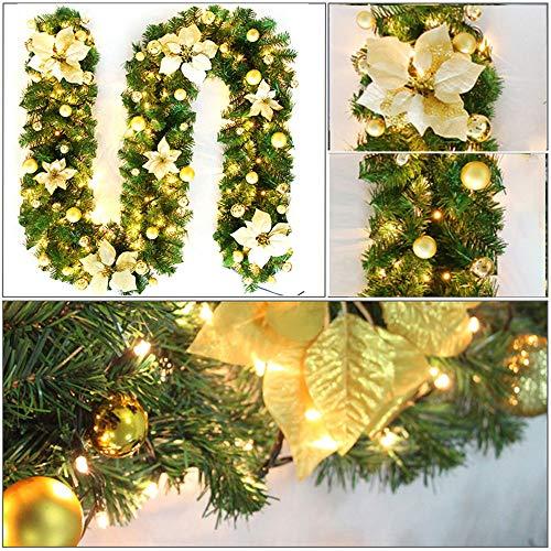 Powstro - Ghirlanda natalizia con luci a LED, 2,7 m, flessibile, in rattan, per camino, scale, finestre, albero di Natale, decorazione per la casa