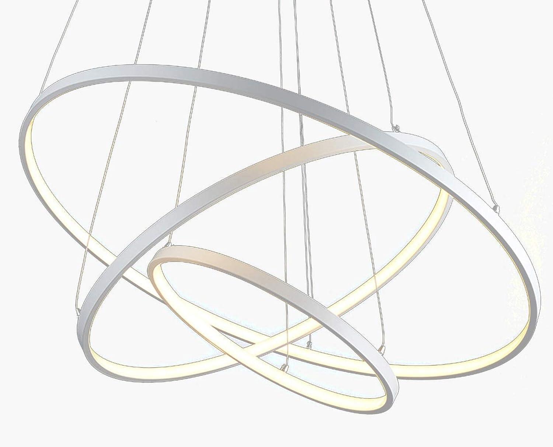 Moderne LED Dimmbar Pendelleuchte, Esstisch Hngelleuchte, Runde 3-Ring Esszimmer Pendellampe, Kronleuchter 120W 40+60+80cm Aluminium Wohnzimmer Deckenleuchte Schlafzimmer Hngelampe mit Fernbedienung