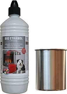 Moritz - Set de iniciación de 1 x 1000 ml de bioetanol + 1 x 0,45 de acero inoxidable con algodón para quemador de chimenea, estufa, pasta de combustión de seguridad