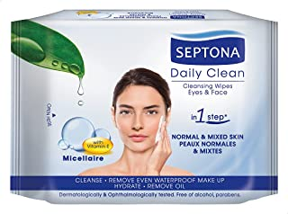 Septona Daily Clean Makeup Removal Wipes with Micellar Water, 20 Pieces