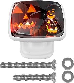 Paquet de 4 boutons d'armoire de cuisine, boutons pour tiroirs de commode Citrouille d'Halloween Tire les poignées de porte