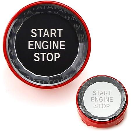 iJDMTOY (1) Crystal Diamond Reflective Engine Push Start Button w/Red Trim Compatible With BMW Exx Chassis Code 3 5 6 7 Series, X1 X3 X5 X6 Z4