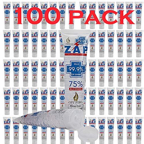 ZAP Hand Sanitizer Gel (100 Pack - 4 OZ Tube) 75% Ethyl Alcohol - Kills 99.9% of Germs With Moisturizing Aloe & Vitamin E