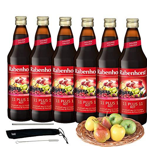Rabenhorst Saft 11 PLUS 11 rot 6x 700ml Multi-Vitamin-Mehrfruchtsaft aus dem Direktsaft von elf auf einander abgestimmten Früchten - PLUS fooodz-Trinkhalm Set mit Reinigungsbürste