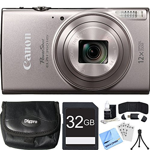 Canon PowerShot ELPH 360 HS Silver Digital Camera 32GB Card Bundle includes Camera, 32GB Memory Card, Reader, Wallet, Case, Mini Tripod, Screen Protectors, Cleaning Kit and Beach Camera Cloth