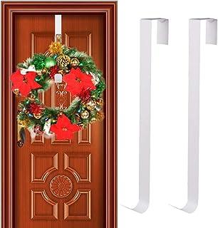 GKanMore 2 Pack Front Door Wreath Hanger Hook Metal 15 Inch Over The Door Hook for Christmas and Party Decoration, Hanging...