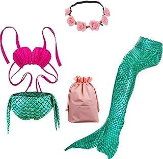 UsHigh Cola de Sirena para Nadar niña Traje de baño Cómodo 3 Piezas Bikini Baños Traje para Princesa Regalos