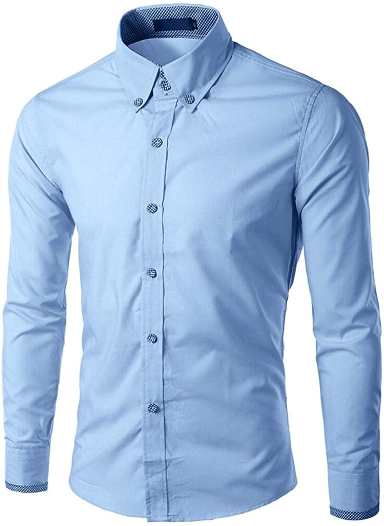 Mens Slim Fit Business Dress Shirt Long Sleeve Solid Color Button Down Shirt Wedding Party Work Tops Plus Size