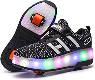 BY0NE LED Lighting up Shoes with Wheels Roller Skate Shoes Sport Sneaker for Little Kid/Big Kid