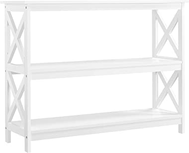YAHEETECH 3 Tier X-Design Console Table, Occasional Sofa Table for Entryway/Hallway, Accent Tables w/Storage Shelves, Living