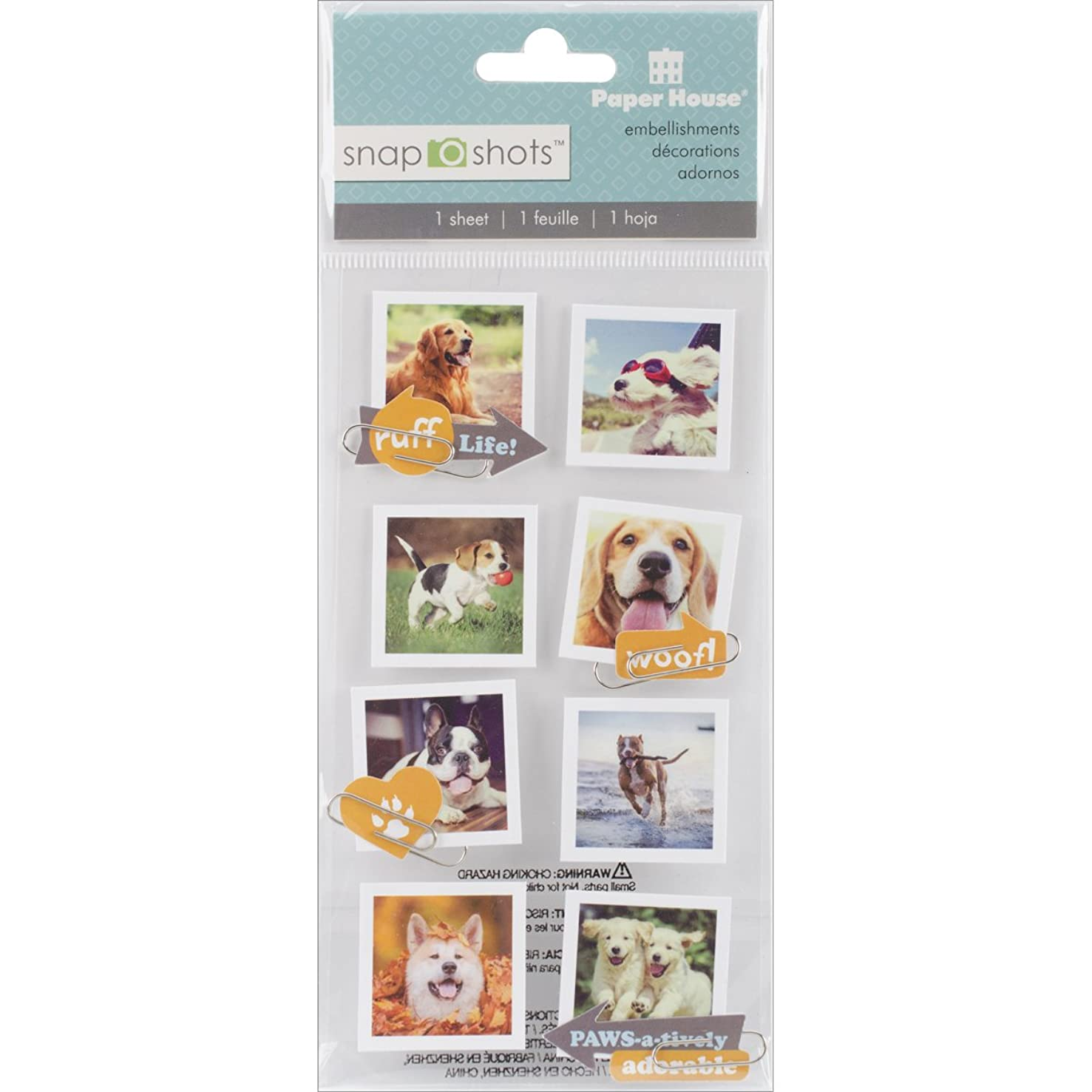 Paper House Productions STSS-0015E Dogs Snapshot Stickers (3-Pack)