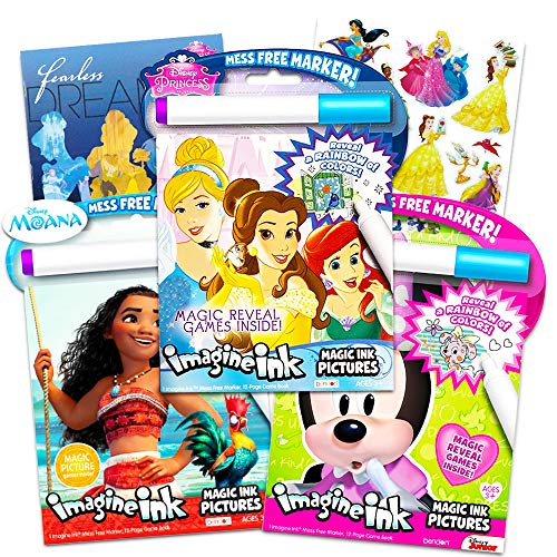 Disney Princess Magic Ink Coloring Book Set -- Bundle of 3 Imagine Ink Books for Girls Kids Toddlers Featuring Disney Princess, Moana, and Minnie Mouse with Invisible Ink Pens and Stickers