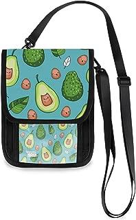 ALAZA Kawaii Avocado Emoji & Leaf Blue Small Crossbody Wallet Purse Cell Phone Bag RFID Passport Holder with Credit Card Slots