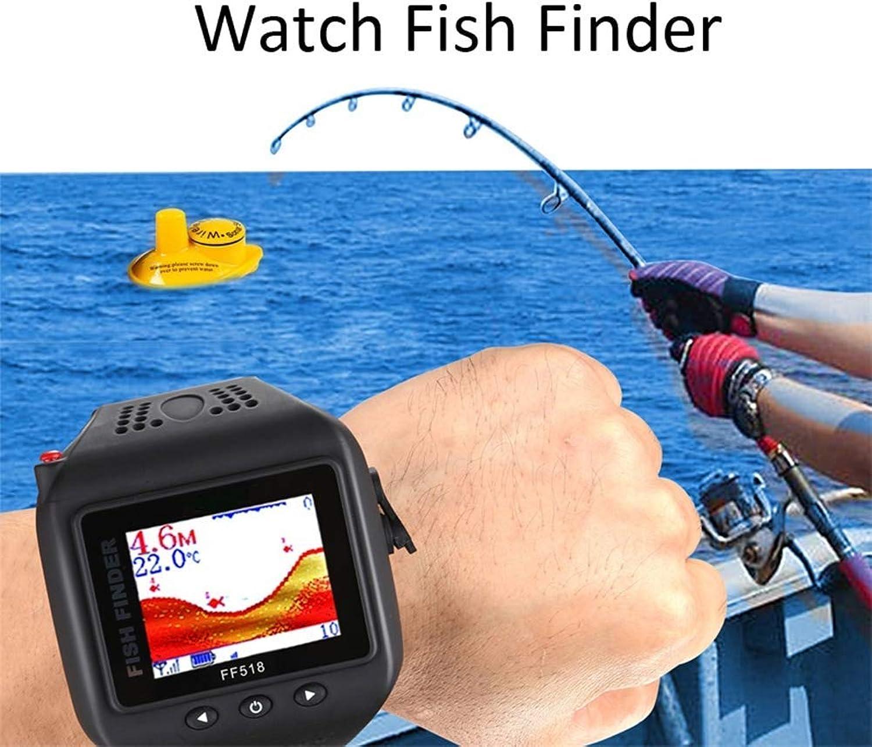 AXDNH Sonar-Fisch-Sucher, drahtlose Uhrart wasserdichter 180Feet (60M) Bereich tragbares Echo-Fischen-Echolot-Wandler-Detektor-Fisch