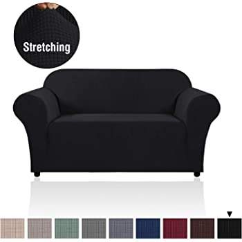 Checks Stretch Spandex Jacquard Fabric Loveseat, Camel 2 Seater Couch Cover with Elastic Bottom CHUN YI Jacquard Loveseat Sofa Covers 2-Piece Settee Slipcover Furniture Protector