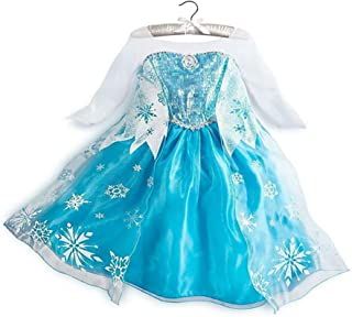 CosplayDiy Girl's Princess Snow Queen Elsa Snowflake Party Cosplay Costume Dress Blue Age 2+