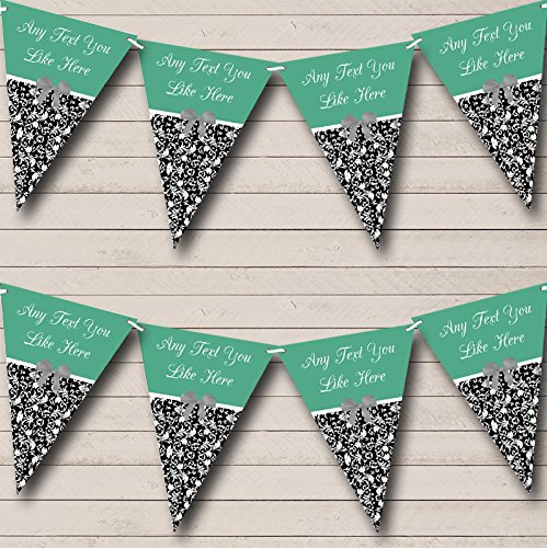 Party Banner Bunting Salie Damask Vintage Gepersonaliseerde Shabby Chic Tuin Thee Large