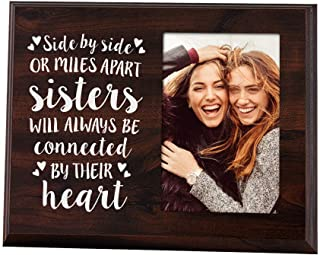 Elegant Signs Sister Gifts Photo Picture Frame 4x6 for Women - Side by Side or Miles Apart