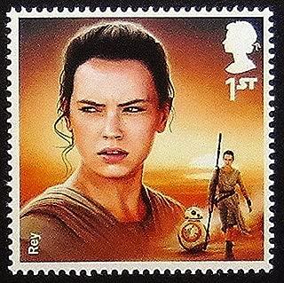 Rey Star Wars UK -Handmade Framed Postage Stamp Art 0253