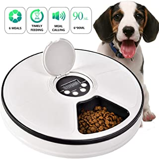 Pet Automatic Feeder Cats Dogs, Timed Feed 6 Meal Trays Dry Wet Food Dispenser with Voice Remind,LCD Smart Programmable Self Container Digital Clock Portion Control