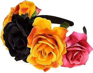 Accesyes Custom Mexican Flower Crown Day of The Dead Hawaiian Boho Frida Floral
