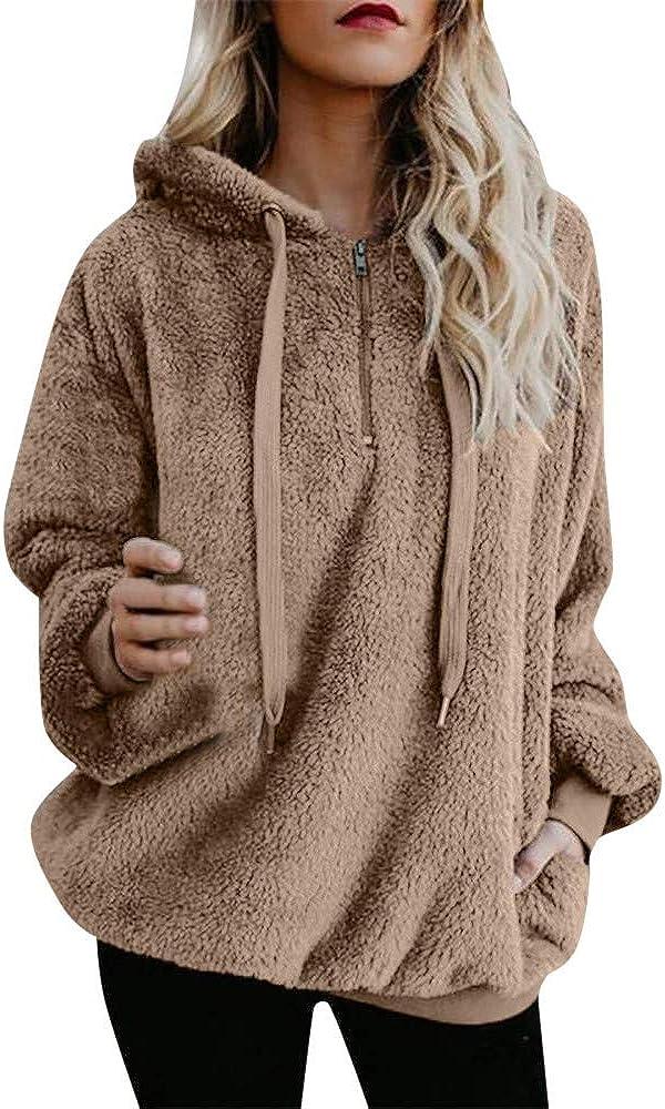 POLLYANNA KEONG Womens Hoodies Pullover, Womens Fuzzy Hoodies Pullover Cozy Oversized Zipper Hooded Sweatshirt Fleece Hoodies