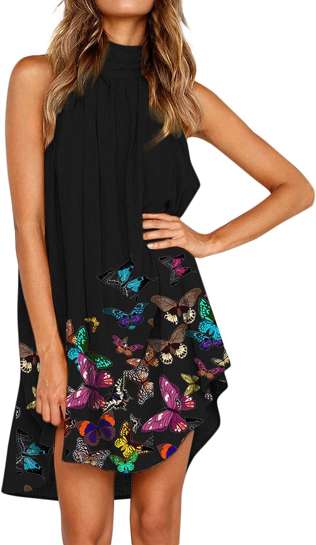 Hemlock Women Summer Sleeveless Dress Halter Neck Maxi Dresses Butterfly Print Dress Short Beach Dresses