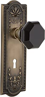 Nostalgic Warehouse 721669 Meadows Plate with Keyhole Passage Waldorf Black Door Knob in Antique Brass, 2.375