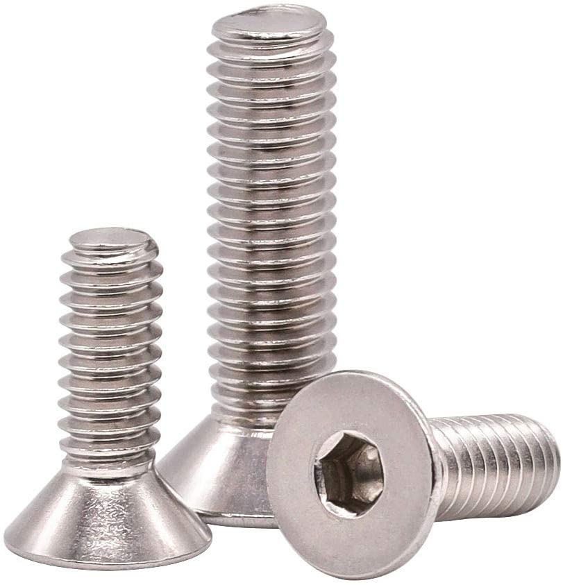 M8-1.25 x 60mm (Pack of 10) Flat Head Socket Cap Screws (M5 to M8 Available), Full Thread, DIN 7991, Stainless Steel 304 (18-8), Allen Hex Drive, Bright Finish