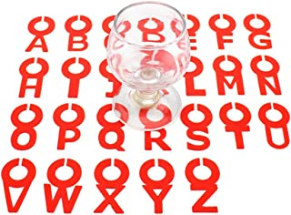 Silicone Wine Charms Glass Drink Markers, Wohouse Unique Cocktail Champagne Pole Tags (26 Pcs English Letter)