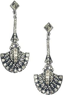 Extra Long Silver Tone Classic Art Deco Antique Vintage Retro Style Imitation Diamond Rhinestone Bridal Prom Wedding Earrings