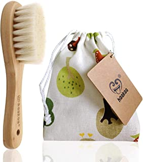 Haakaa Wooden Baby Hair Brush for Newborns and Toddlers Baby Brush Natural Soft Goat Bristles Hairbrush, Ideal for Cradle ...