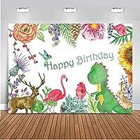 新しいお誕生日おめでとう背景2.1×1.5mビニール恐竜フラミンゴ写真の背景子供たちのパーティーの装飾カラフルなバラ新生児の写真の背景