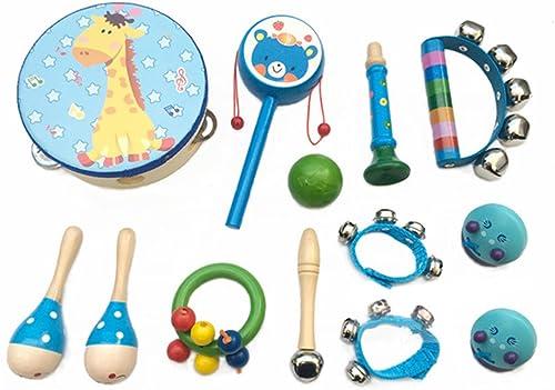 PAMRAY Instruments Musique Bebe Percussions Rythme Jouets Bois Mini Tambourin Maracas Castagnettes Trompette Coloré E...