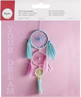 Rayher 66048000 Kit pour capteur de rêves, multicolore pastel, 1 set, 14X41cm, à faire soi-même, à suspendre, décoration ...