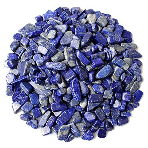1.1 Lb(0.5 kg) Decorative Crystal Pebbles Irregular Shaped Lapis Lazuli Stones Small Tumbled Chip Gravel Crushed Gemstone Pieces Deep Blue Quartz Perfect for Bottle/Vase/Plant/Fish Tank Decoration