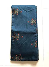 NK Textiles Women's Floral Foil Print Navy Blue Coloured Muslin Silk Unstitched Fabric for Making Kurtis, Gowns, Palazzos, Patiyala etc, 2.5 Meters, 3 Meters, 5 Meters, Dress Making Material