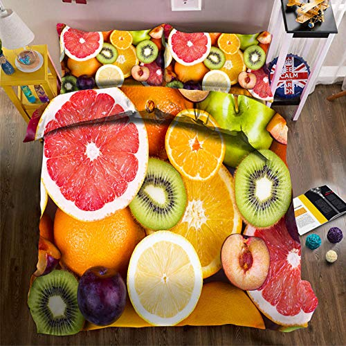 QHDXL Fundas Nórdicas Naranja Limón Juego de Cama Fundas Nordicas Funda Nórdica Suave con Cremallera, 1 Microfibra Funda Nórdica y 2 Fundas de Almohada, Funda Nordica(240x260cm)