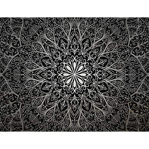 Runa Art Fototapete Mandala Orientalisch Modern Vlies Wohnzimmer Schlafzimmer Flur - made in Germany - Schwarz Weiss 9093010c